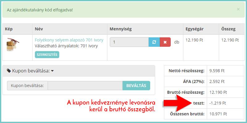 Kupon beváltása a Blueberry-Webshop-ban